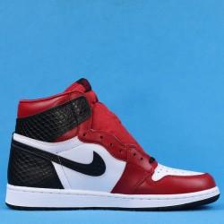 "Air Jordan 1 High ""Satin Snake"" White Black Red CD0461-601 40-47"