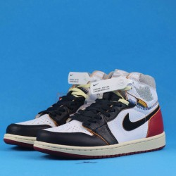 "Air Jordan 1 Retro High ""Nrgun Black Toe"" Black White Gold BV1300-106 40-46"