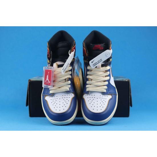 """Sale Air Jordan 1 Retro High """"Storm Blue"""" Nrgun Blue White Red BV1300-146 40-46 Shoes"""