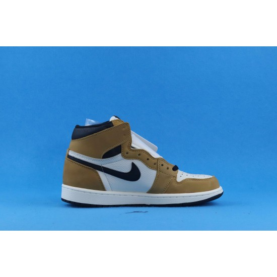 "Sale Air Jordan 1 ""Rookie Of The Year"" Brown Black White 555088-700 40-46 Shoes"
