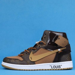 "Louis Vuitton x Off White x Air Jordan 1 ""Louis"" High Brown Black AQ0818-202 40-46"