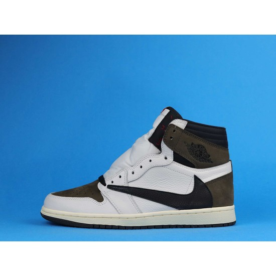 "Sale Travis Scott x Air Jordan 1 High OG TS SP ""Mocha"" White Brown CD4487-100 40-47 Shoes"