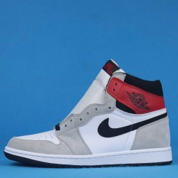 "Air Jordan 1 High OG Light ""Smoke Grey"" White Red Gray 555088-126 36-46"