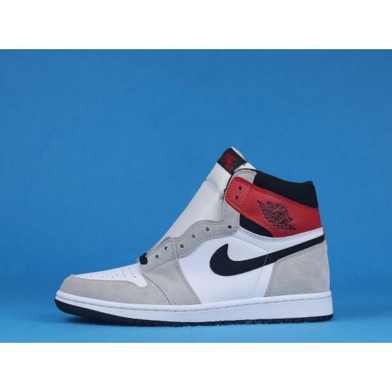 "Sale Air Jordan 1 High OG Light ""Smoke Grey"" White Red Gray 555088-126 36-46 Shoes"