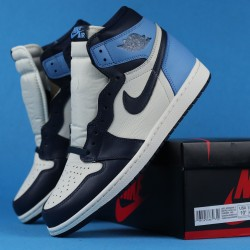 "Air Jordan 1 High OG ""Obsidian"" Blue White 555088-140 36-46"