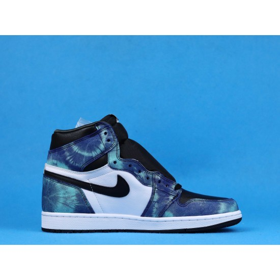 "Sale Air Jordan 1 High OG WMNS ""Tie-Dye"" Blue Black White CD0461-100 36-46 Shoes"