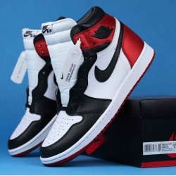 "Air Jordan 1 High WMNS ""Satin Black Toe"" Red Black White CD0461-016 36-46"