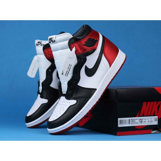 "Sale Air Jordan 1 High WMNS ""Satin Black Toe"" Red Black White CD0461-016 36-46 Shoes"