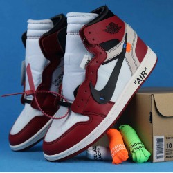 "Off White x Air Jordan 1 ""Chicago"" White Red Black AA3834-101 36-46"