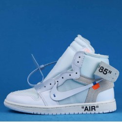 "Off White x Air Jordan 1 ""White"" White Blue AQ0818-100 36-46"