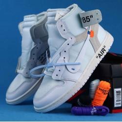 "Off White x Air Jordan 1 ""White"" White Blue AQ0818-100 36-46"