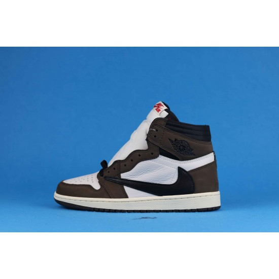 "Sale Travis Scott x Air Jordan 1 High OG TS SP ""Mocha"" Brown White Black CD4487-100 36-46 Shoes"