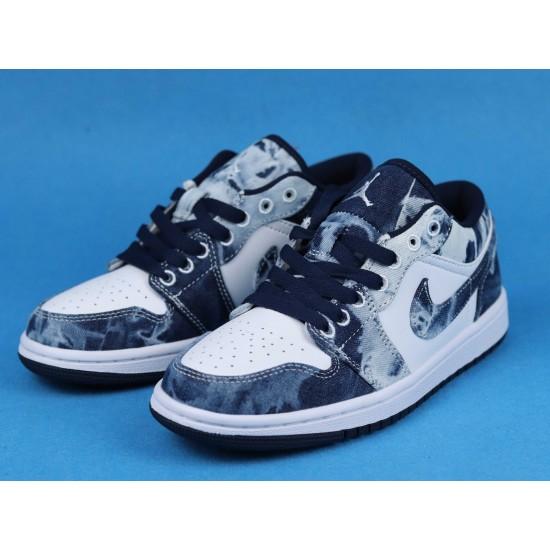 "Sale Air Jordan 1 Low BHM ""Washed Denim"" Black Cyber White Blue CZ8455-100 36-46 Shoes"