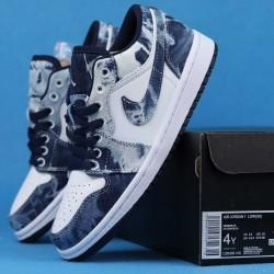 "Air Jordan 1 Low BHM ""Washed Denim"" Black Cyber White Blue CZ8455-100 36-46"
