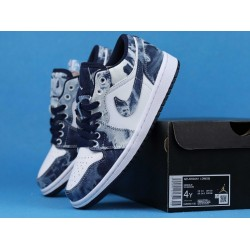 "Air Jordan 1 Low BHM ""Washed Denim"" Black Cyber White Blue CZ8455-100 36-46"