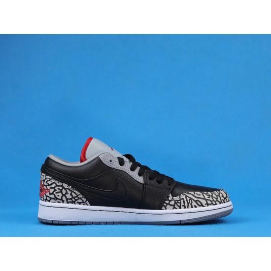 """Sale Air Jordan 1 Low """"Black Cement"""" Black White 350571-061 36-46 Shoes"""