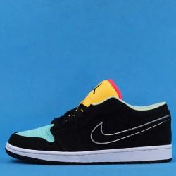 "Air Jordan 1 Low ""Aurora Green"" Black Yellow Blue CK3022-013 36-46"