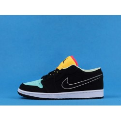 "Air Jordan 1 Low ""Aurora Green"" Black Yellow Blue CK3022-013 36-46"