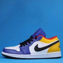 """Air Jordan 1 Low """"Deep Royal / Yellow"""" Blue Yellow White 553558-123 GS 553560-123 36-46"""
