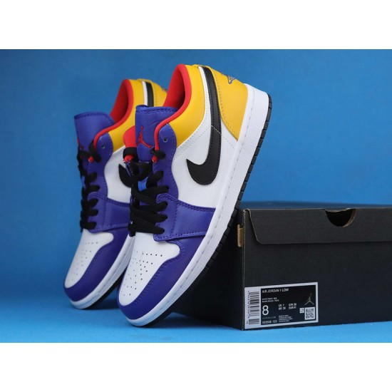 """Sale Air Jordan 1 Low """"Deep Royal / Yellow"""" Blue Yellow White 553558-123 GS 553560-123 36-46 Shoes"""