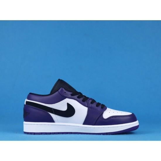 """Sale Air Jordan 1 Low """"Court Purple"""" Purple White Black 553558-500 36-46 Shoes"""