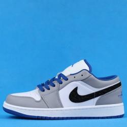 "Air Jordan 1 Low ""True Blue Cement"" Grey White 553558-103 36-46"