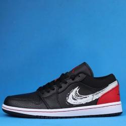 "Air Jordan 1 Low SE ""Brushstroke Swoosh"" Black Red White DA4659-001 36-46"