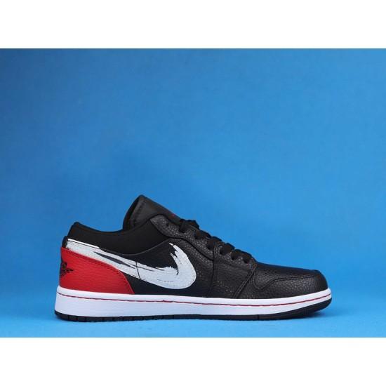 "Sale Air Jordan 1 Low SE ""Brushstroke Swoosh"" Black Red White DA4659-001 36-46 Shoes"