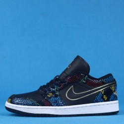 "Air Jordan 1 Low WMNS BHM ""Multi Snakeskin"" Black Gold CW5580-001 36-46"