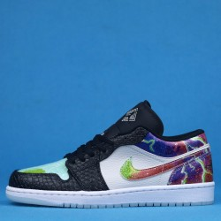 "Air Jordan 1 Low ""Galaxy"" White Black Purple CW7309-090 36-46"