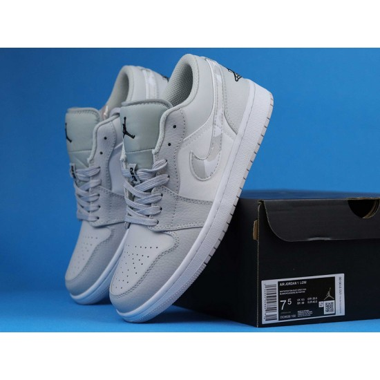 """Sale Air Jordan 1 Low """"White Camo"""" White Grey DC9036-100 36-47 Shoes"""