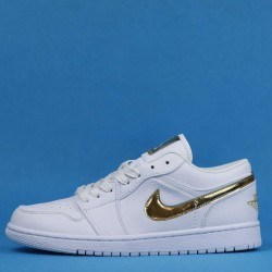 "Air Jordan 1 Low ""White Metallic Gold"" White Gold CZ4776-100 36-46"