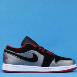 "Air Jordan 1 Retro Low ""Dark Grey Black"" Black Silver Red 553558-002 36-46"
