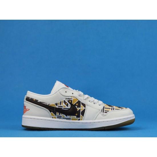 """Sale Air Jordan 1 low """"Quai 54"""" White Khaki Brown CZ4155-100 36-46 Shoes"""