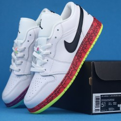 "Air Jordan 1 Low GS ""Multi-Color"" White Purple Red CV9548-100 36-40"