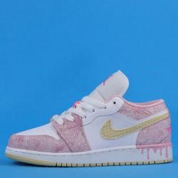"Air Jordan 1 Low ""Paint Drip"" Pink White CW7104-601 35-40"