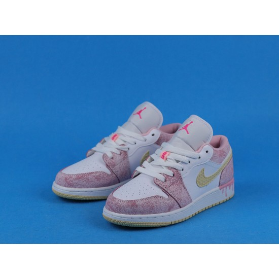 "Sale Air Jordan 1 Low ""Paint Drip"" Pink White CW7104-601 35-40 Shoes"
