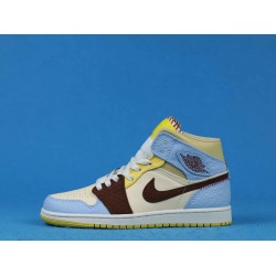 "Air Jordan 1 High Mid ""Fearless"" Blue Yellow White CU2803-200 36-46"