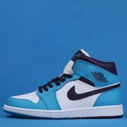 """Air Jordan 1 Mid """"Charlotte Hornets"""" Blue White 554724-415 36-46"""