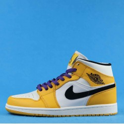 "Air Jordan 1 Mid ""Lakers"" Yellow White Black 852542-700 36-46"