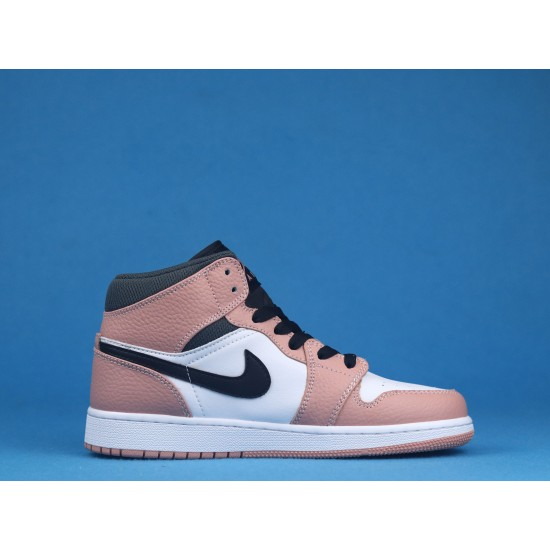 Air Jordan 1 Mid Pink Quartz White Black Pink 555112-603 36-46
