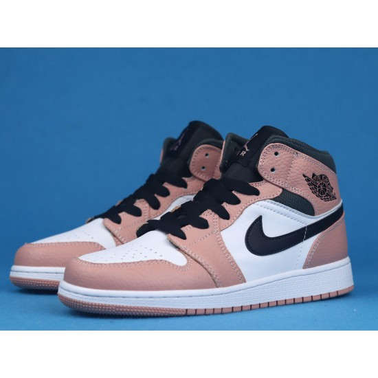 Air Jordan 1 Mid Pink Quartz White Black Pink 555112-603 36-46