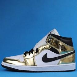"Air Jordan 1 Mid ""White Metallic Gold"" Gold White 554727-156 40-45"