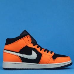 """Air Jordan 1 Mid """"Black Cone"""" Orange Black 554724-062 40-46"""