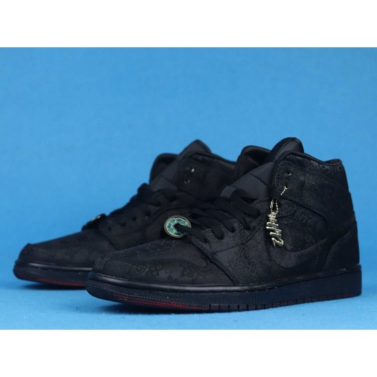 "Sale Clot x Air Jordan 1 Mid ""Fearless"" Triple Black CU2804-002 40-46 Shoes"