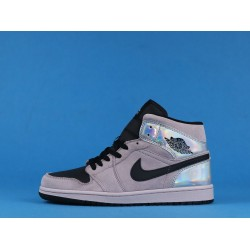 "Air Jordan 1 High Mid ""Iridescent"" Pink Silver Black BQ6472-602 36-46"
