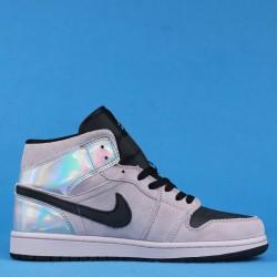 "Air Jordan 1 High Mid ""Iridescent"" Pink Silver Black BQ6472-602 36-46"