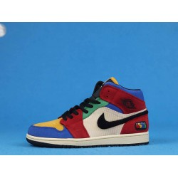 "Air Jordan 1 Mid ""Fearless"" Blue The Great Red Blue White CU2805-100 36-46"