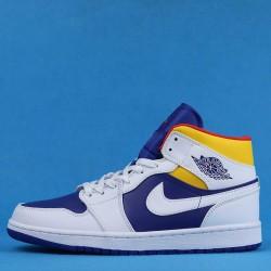 "Air Jordan 1 Mid ""Laser Orange"" Blue Yellow 554724-131 36-46"