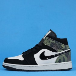 "Air Jordan 1 Mid ""Camo"" Green Black White CW5490-001 36-46"